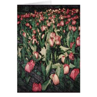 Champ de carte de voeux rose de Balnk de tulipes