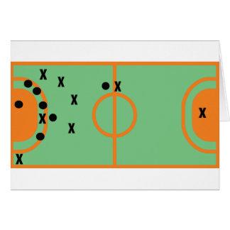 champ de handball avec l'icône de joueurs carte de vœux