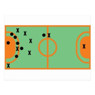 champ de handball avec l'icône de joueurs carte postale