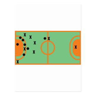 champ de handball avec l'icône de joueurs cartes postales