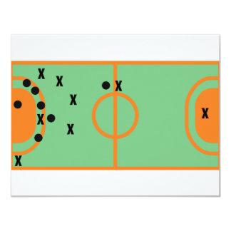 champ de handball avec l'icône de joueurs cartons d'invitation