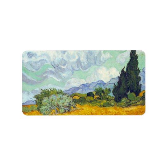 Champ de maïs avec Cyprusses par Vincent van Gogh Étiquette D'adresse