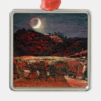 Champ de maïs par le clair de lune, 1830 ornement carré argenté