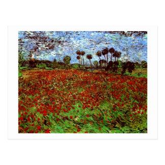 Champ de Van Gogh avec des beaux-arts des pavots Cartes Postales