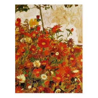 Champ d'Egon Schiele- des fleurs Carte Postale