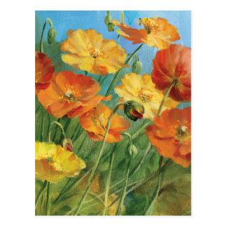 Champ floral d'été carte postale