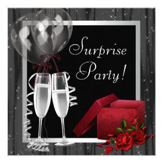 Champagne miroite fête blanche noire invitations personnalisées