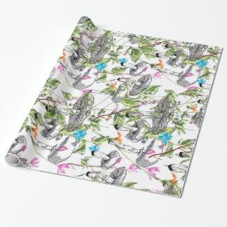 champignon floral papier cadeau