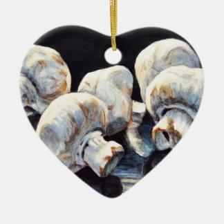 Champignons de clair de lune ornement cœur en céramique