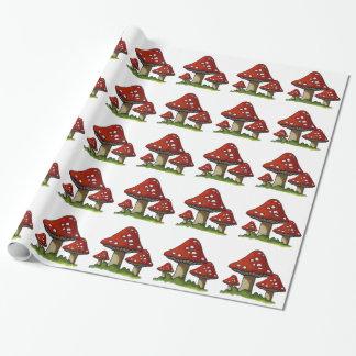 Champignons rouges, champignons : Art original Papiers Cadeaux Noël