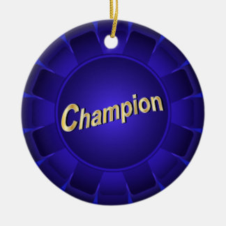 Champion bleu de ruban à customiser ornement rond en céramique
