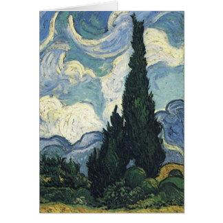 Champs de blé de Vincent van Gogh avec des cyprès Carte De Vœux