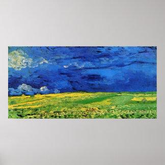 Champs de blé sous le ciel opacifié Van Gogh Poster