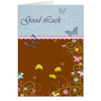 Chance de fleur de papillon bonne carte de vœux