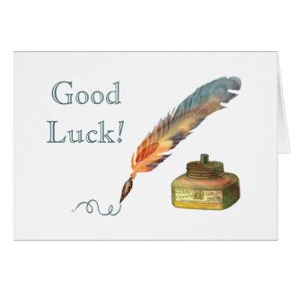 Chance de stylo de plume bonne carte de vœux