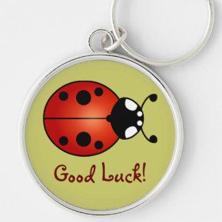 Chance noire orange rouge de Ladybird de Porte-clé Rond Argenté