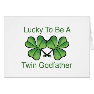 Chanceux pour être parrain jumeau carte de vœux