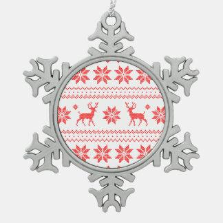 Chandail laid blanc rouge de Knit de renne de Noël Ornement Flocon De Neige Pewter