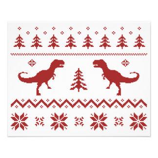Chandail laid de Noël de dinosaure de T-Rex Prospectus 11,4 Cm X 14,2 Cm