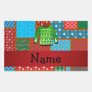 Chandail laid vert nommé fait sur commande de Noël Sticker Rectangulaire