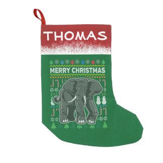 Chandail personnalisé de Noël de faune d'éléphant Petite Chaussette De Noël