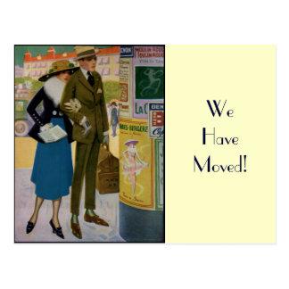Changement d'adresse de couples vintage élégant carte postale