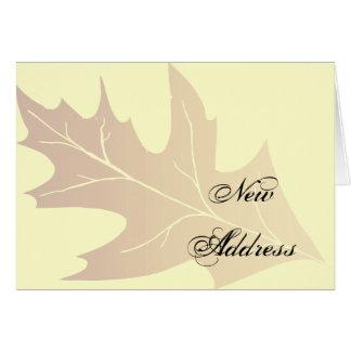 Changement d'adresse de feuille de chêne d'automne cartes de vœux