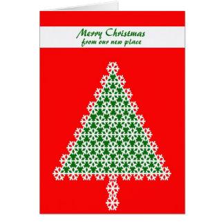 Changement d'adresse la carte de Noël, arbre de
