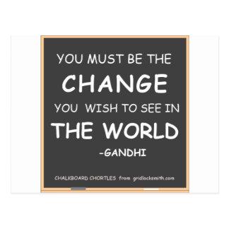Changement-Monde-Gandhi Carte Postale
