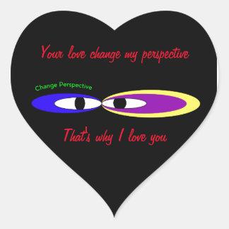 'Changez les yeux de perspective Sticker Cœur