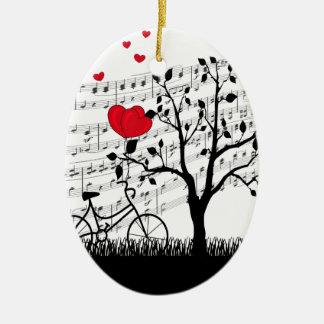 Chanson d'amour ornement ovale en céramique