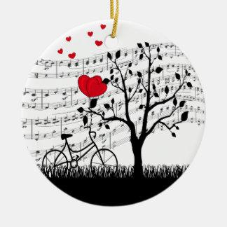 Chanson d'amour ornement rond en céramique