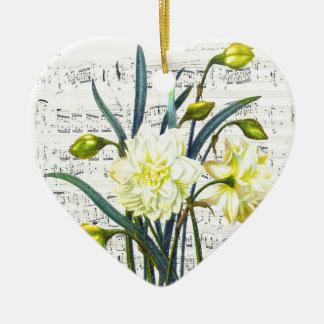 Chanson de printemps ornement cœur en céramique