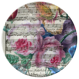 Chansons florales assiette en porcelaine