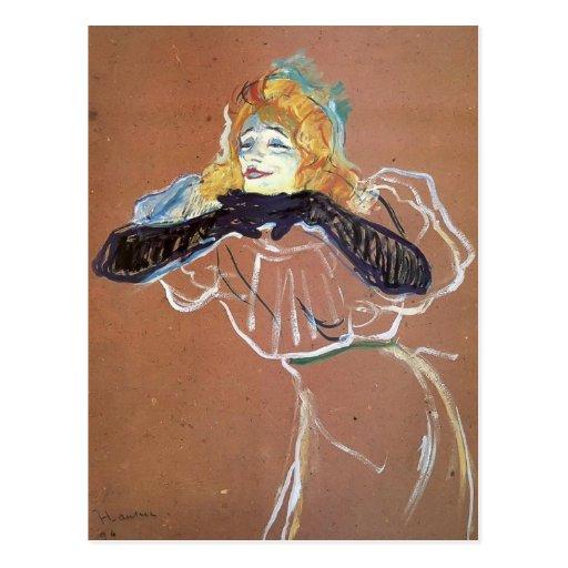 Chant de Henri De Toulouse-Lautrec Yvette Guibert Carte Postale