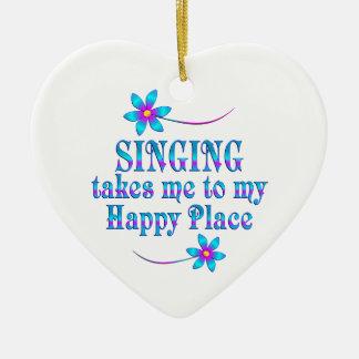 Chant de mon endroit heureux ornement cœur en céramique