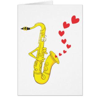 Chanter une sérénade à romantique de saxophone carte de vœux