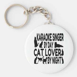 Chanteur de karaoke d'amoureux des chats porte-clés