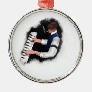 Chanteur de piano ornement rond argenté