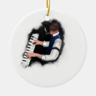 Chanteur de piano ornement rond en céramique