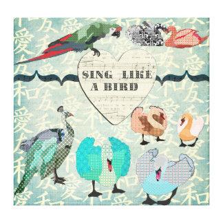 Chantez comme un art de toile d'oiseau toiles tendues