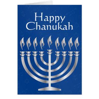 Chanukah heureux - Menorah en argent 2 - carte