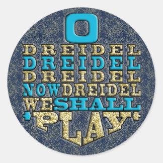 """Chanukah """"O Dreidel Dreidel…"""" Autocollants ronds"""