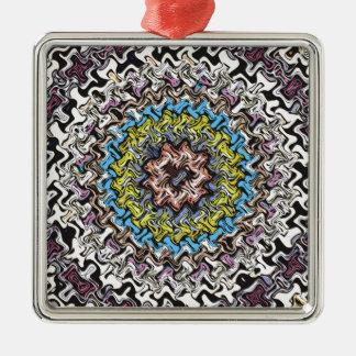 Chaos concentrique coloré ornement carré argenté