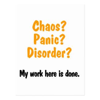 Chaos ? Panique ? Désordre ? Carte Postale