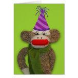 Chapeau d'anniversaire de singe de chaussette carte de vœux