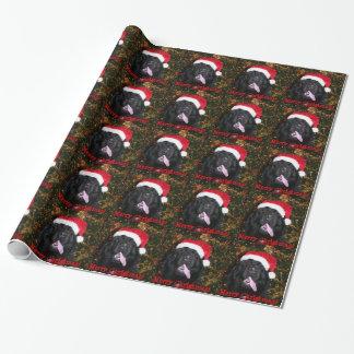 Chapeau de Père Noël de chien de Terre-Neuve Papier Cadeau Noël