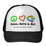 Chapeau de signes de paix, d'amour et d'art casquettes