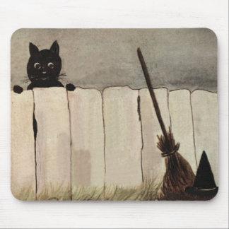 Chapeau du balai de sorcière de barrière de chat tapis de souris