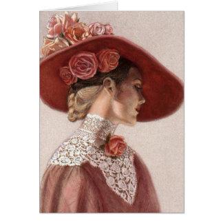 Chapeau rose de cru victorien élégant de Madame be Carte De Vœux